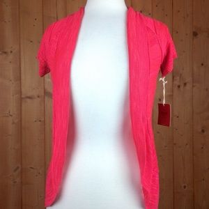 NWT Mossimo Coral Open Front Short Slv Cardigan M